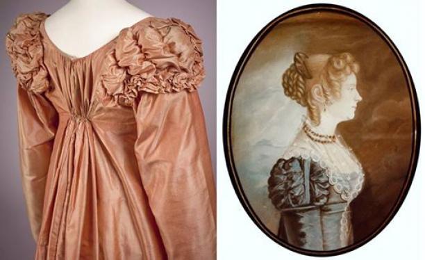 Jurk en schilderij vrouwenmode 1810