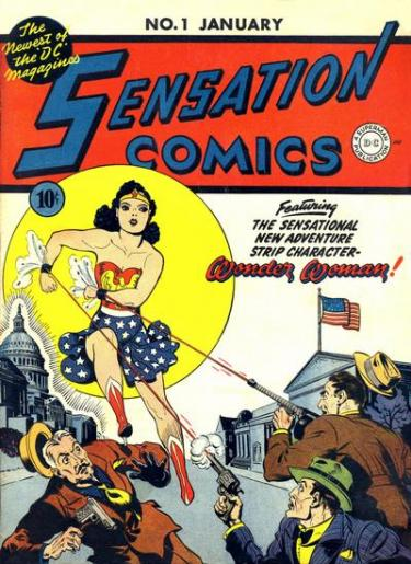 "Voorkant van een Wonder Woman comic book / stripboek van D.C. Magazines. Op de voorkant staat: ""Sensation Comics featuring the sensational new adventure strip character Wonder Woman!""."