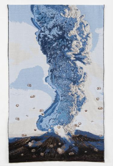 Agenda Modemuze Gorcums Museum Tentoonstelling Voor de Draad Ermee. Marielle van den Bergh - vulkaan, weefsel en borduursels