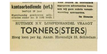 Advertentie 'Torners(sters) gezocht' van lompenhandel Rutimex N.V. in 'Het Vrije Volk', 16 november 1953. Via: delpher.
