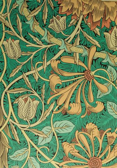 Afbeelding: © Morris & Co. Tentoonstelling William Morris, patronen van bloemen in Museum de Zwarte Tulp, 2017.