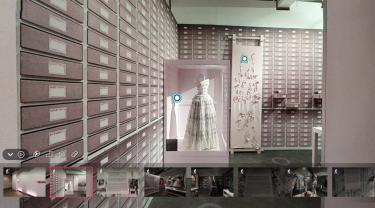 Een schermafbeelding van de virtuele omgeving van de tentoonstelling SMUK in Modemuseum Hasselt.