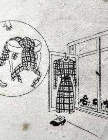 Blog Modemuze Birthe Weijkamp Hoe ga je om met vintage. Afb. 1 Illustratie uit Beyer Tips en Wenken voor Winterkleeding, kleding altijd uithangen na het dragen en niet over een stoel gooien, ca. 1940-45