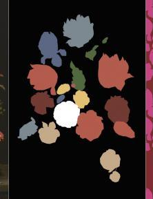 Blog Modemuze Sterre Snijders Masterly. Ontwerpproces van Barnaart v.l.n.r. schilderij van Schoock, abstrahering door Barnaart in kleur, uiteindelijk dessin door Barnaart