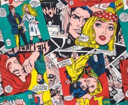 Nicky Zann, 'Love Comic' gordijnstof, katoen, 1970, collectie Target Gallery London.