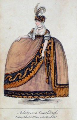 Modeprent uit 1805: A lady in court dress, Pub. by Tabart & Co. June, 1805, Bond Str.. Bron: Janeaustensworld.