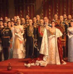 Nicholaas van der Waay, (uitsnede van een schilderij van) de eedaflegging van Koning Wilhelmina, 1899, collectie Stichting Historische Verzamelingen van het Huis Oranje-Nassau.
