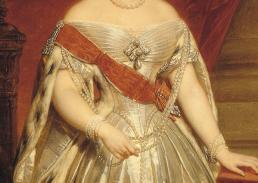 Afb. 4. Nicaise de Keyzer, jaren 1840, Anna_Paulowna in haar inhuldigingskostuum (detail). Koninklijke Verzamelingen, Den Haag.