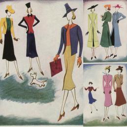 Blog Modemuze. Vintage en de stijl van vroeger. Afb. 1 Vogue Paris 1938 waarop felle kleurcombinaties te zien zijn