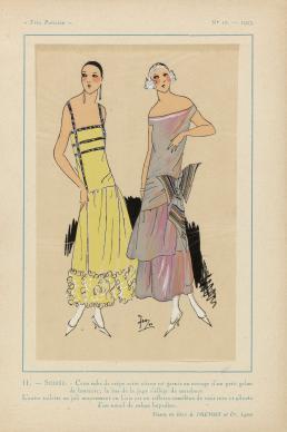 Très Parisien, 1923, No 10: 11. - SOIRÉE. - Cette robe de crêpe..., collectie Rijksmuseum.