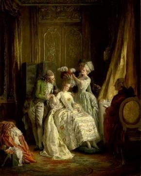Het aankleden van Marie Antoinette's haar, door Heinrich Losslow (1843-1897). Bron: Wikipedia.