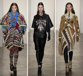 Native American geïnspireerde mode op de catwalk voor het Britse modemerk KTZ tijdens de London Fashion Week 2015 (foto: Vogue.com, fotograaf: Yannis Vlamos / Indigitalimages.com)