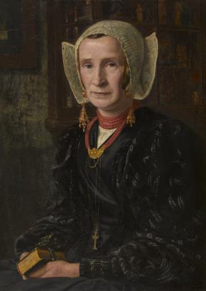 Olieverfschilderij, 'Laarder vrouw', 1905, Martinus van Regteren Altena. 88 x 68 cm. Inventarisnummer: NOM.3694.OV