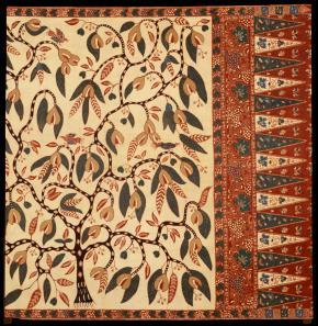 Sarong door C.J. von Franquemont, midden 1800. (Zie ook Gittinger, 1979, no. 94). Collectie Nationaal Museum van Wereldculturen.