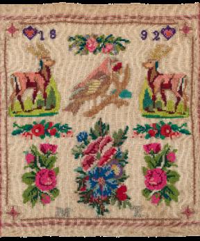 Merklap ter illustratie van de tentoonstelling Merklappen uit de kast (III) in Historisch Museum de Bevelanden 2016-2017