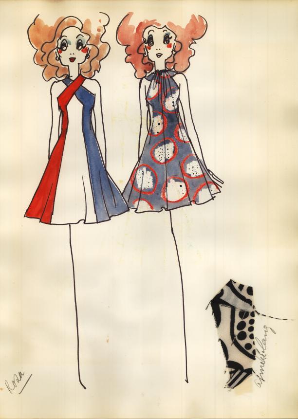 Scan uit plakboek, ontwerptekening van Cargelli, Museum Rotterdam.
