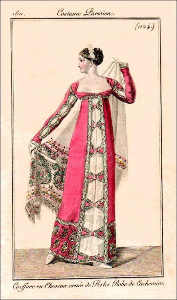 Afb. 4 Kasjmieren japon. Bron: Journal des Dames et des Modes, 1811.