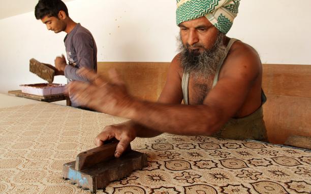 'Block printing'. Textiel Factorij Meet the Maker
