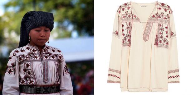 Isabel Marant vs traditioneel Tlahuitoltepec-design. Zoek de verschillen. Bron: theflama.com.