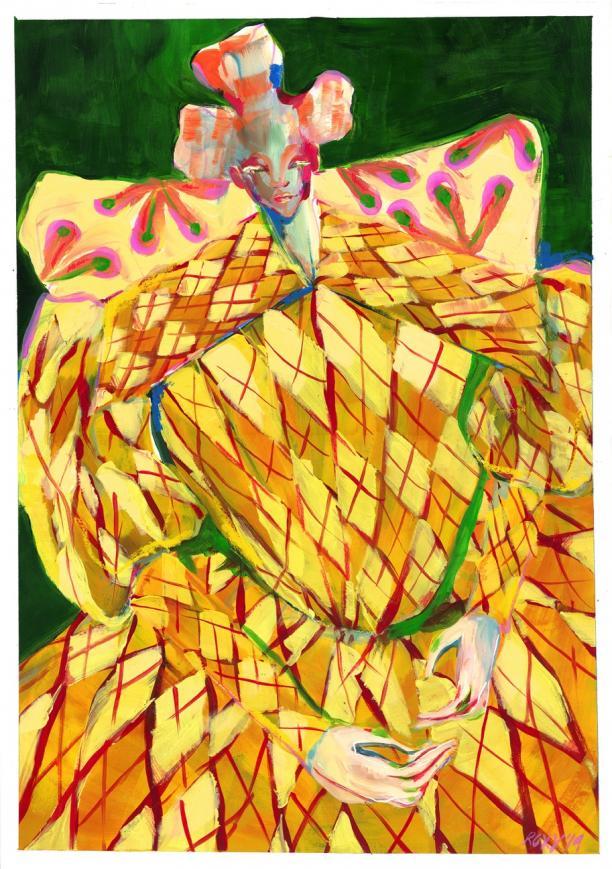 Illustratie van de Biedermeierjurk door Roxy van Bemmel in samenwerking met Ruby Helms