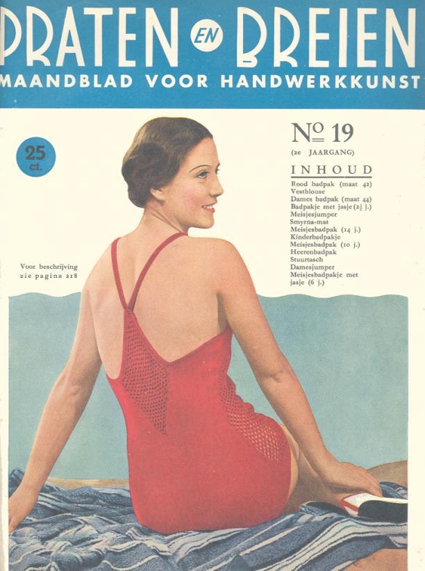 Omslag van het tijdschrift Praten en breien : maandblad voor handwerkkunst (november 1934-oktober 1936), april 1935, No. 19.