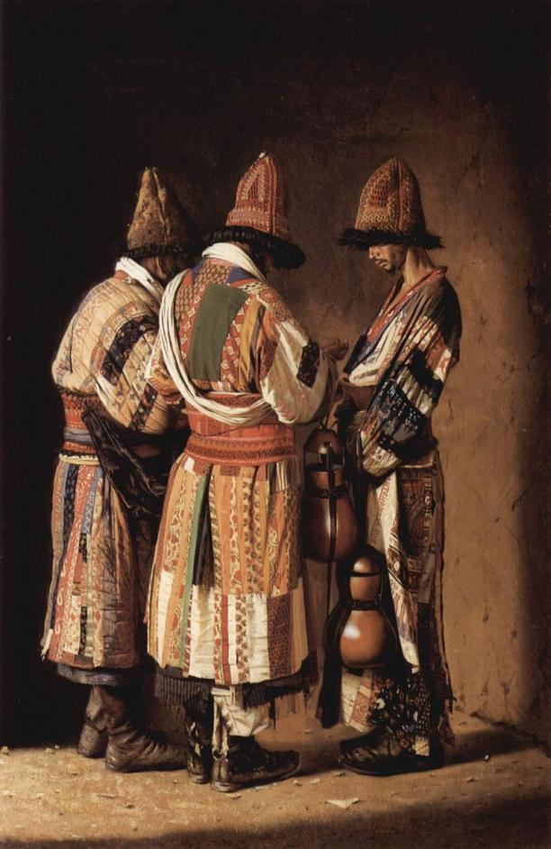Vasilij Vasil'evic Verescagin, Derwisjen uit Tasjkent in feestelijke kostuums, 1870, collectie Tretyakov Gallery.