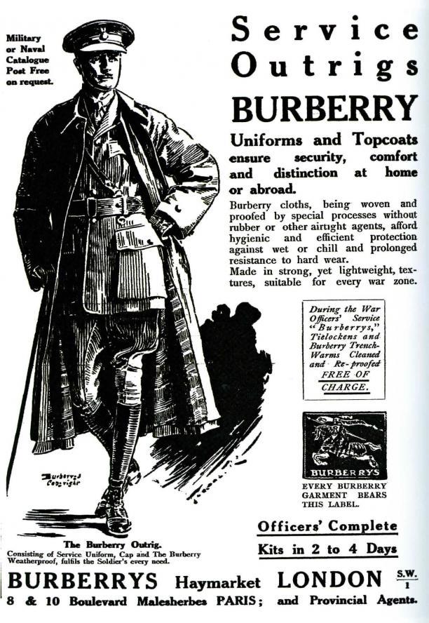 Advertentie van Burberry met daarop de trenchcoat gedragen door soldaten in de Eerste Wereldoorlog. Burberry staat hedendaags nog steeds bekend om hun trenchcoats, maar dan gedragen als modeitem.