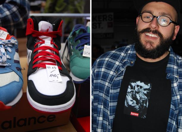 Remake Nike Jordans van verkoper Sascha (rechts) op Sneakerness.