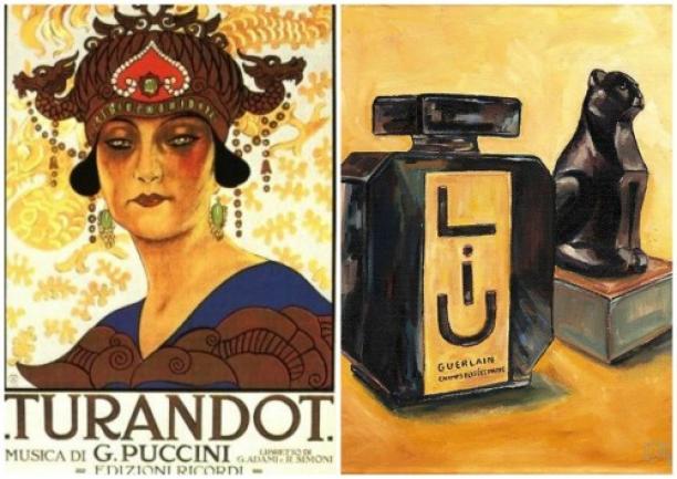 Poster voor Puccini's Turandot (1929) en schilderij van Guerlain parfumflessen door Cecely Bloom. Bron: Cafleurebon.