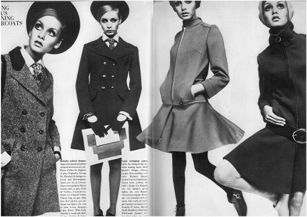 "Model Twiggy (Lesley Hornby) in de serie ""Young Idea's - Winning Overcoats"", Vogue, september 1967. Bron: ciaovogue.blogspot.nl via forums.thefashionspot.com"