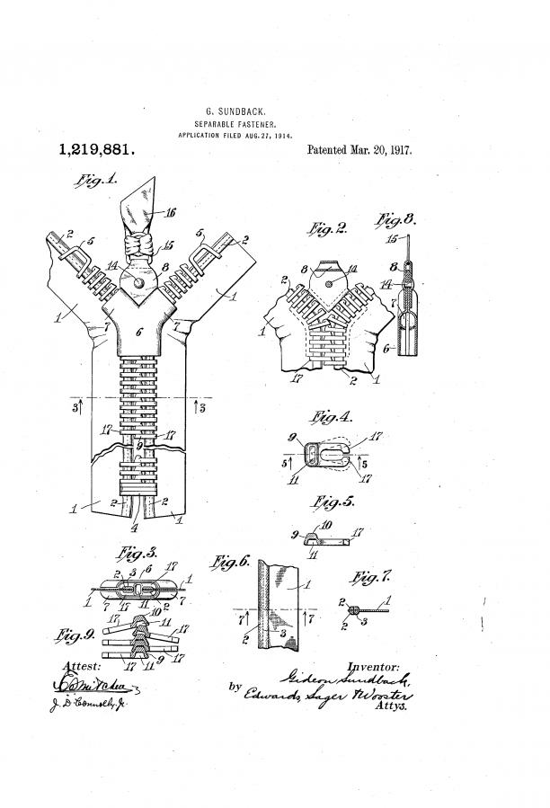 Een patent voor een 'Seperable Fastener' van Gideon Sundback, gepatenteerd in 1917. Bron: Google Patents.