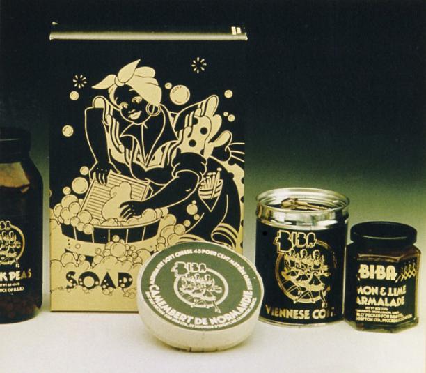 Alles kreeg het Biba logo, van camembert tot marmelade