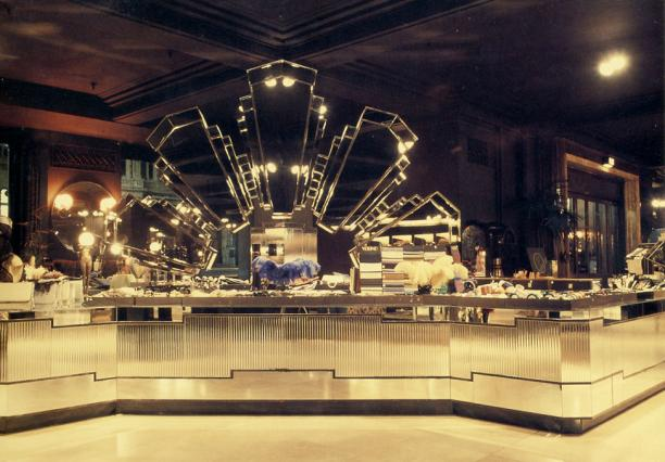 Make up counter in Big Biba, 1974
