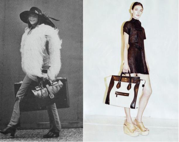 Blog Modemuze, bag hoarder Jadwiga Peters, Links: model Penelope Tree met de Luggage tas van Céline in de jaren 1970, rechts: een hedendaagse Luggage van Céline