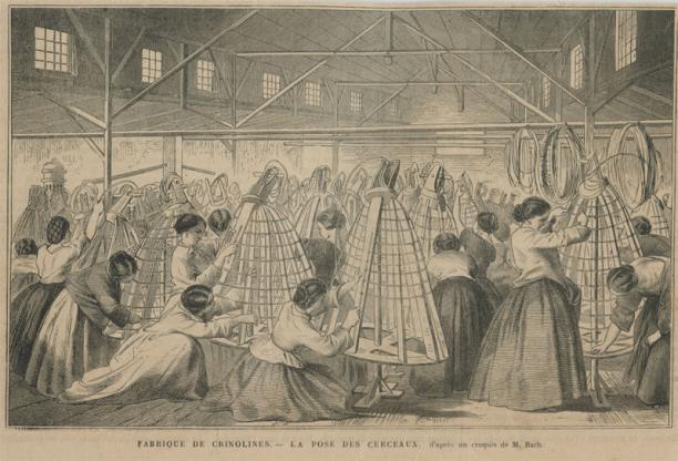 Crinoline fabriek in 1865: Fabrique de Crinolines – La Pose des Cerceaux (Afbeelding in bezit van Dirk-Jan List, met toestemming geplaatst. Zie: wp.dirkjanlist.nl/crinoline/)