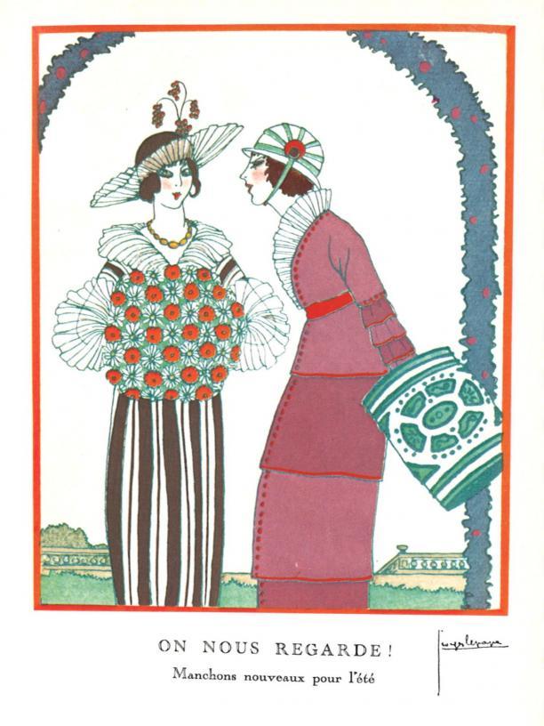 Modeprent ON NOUS REGARDE! Manchons nouveaux pour l'été, uit het modetijdschrift Gazette du Bon Ton, 9 juli 1913, No 9, Pl. I