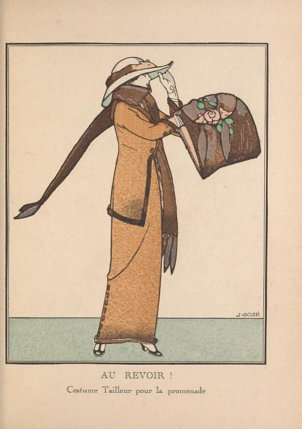 Modeprent AU REVOIR! Costume Tailleur pour le promenade, uit het modetijdschrift Gazette du Bon Ton, 1 oktober 1912, No 1, Pl. 5