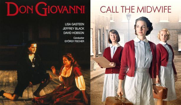 Posters van twee producties waar Siam Costumes de kostuums voor maakte: de opera Don Giovanni en de BBC-serie Call the Midwives.