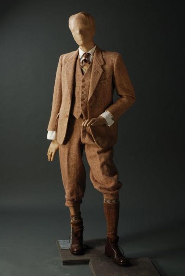 geweldige prijzen beste kwaliteit hete verkoop online Beige/bruin tweed heren wandelkostuum, bestaande uit jasje ...