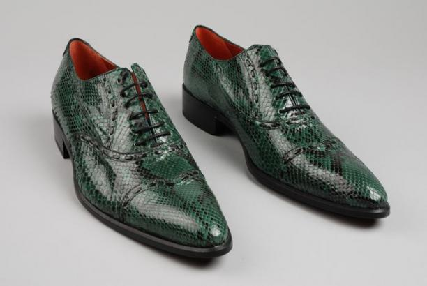 Ongebruikt Paar herenschoenen van groen/zwart slangenleer met puntige, lange JF-07