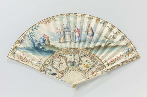 Waaier met 'aanzoek aan Rebecca', vermoedelijk huwelijkswaaier, ca. 1745 - ca. 1755, BK-NM-12904-B Rijksmuseum