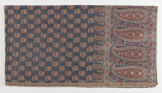 Kasjmiersjaal, zijde en wol, West-Europa, ca. 1820, Rijksmuseum, bruikleen van een particulier.