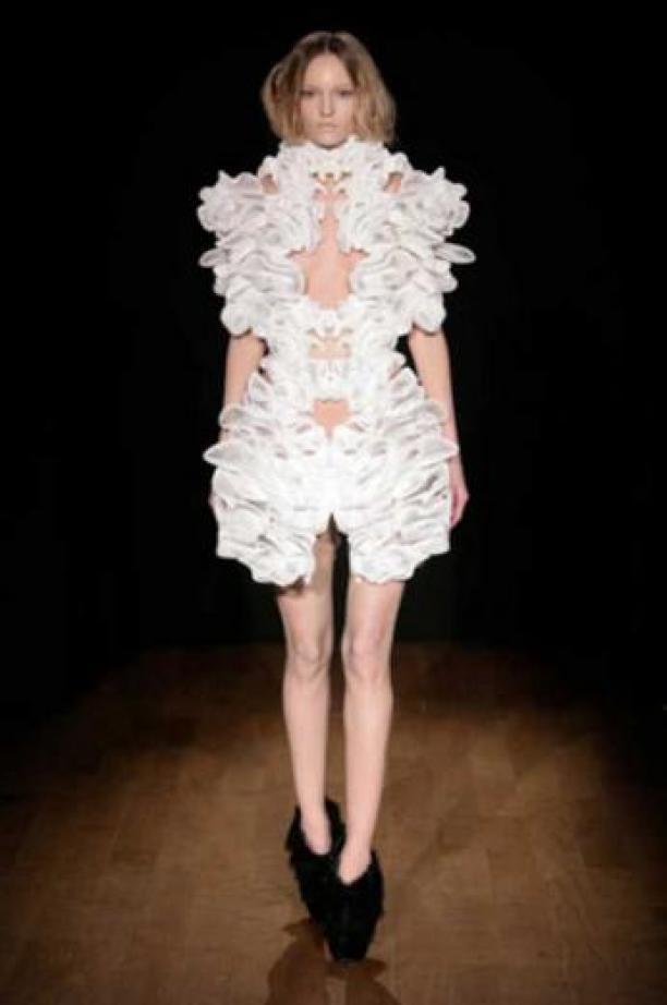 3D-geprinte, witte jurk.