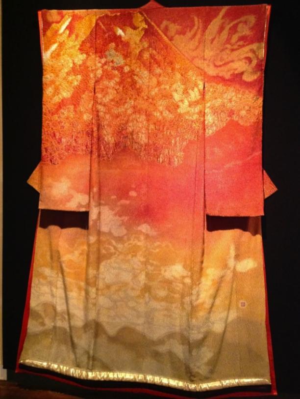 Itchiku Kuboto, kimono Fuji bij zonsondergang