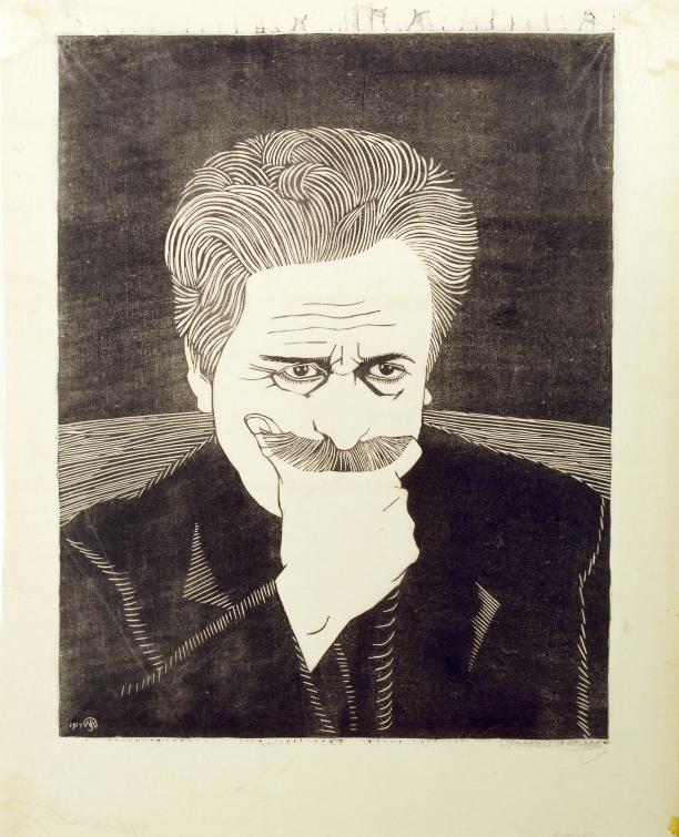 Samuel Jessurun de Mesquita, Zelfportret met hand aan snor, 1917, collectie Gemeentemuseum Den Haag.