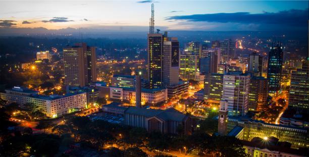 Nairobi bij zonsondergang.