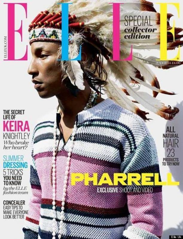 Toen Pharrell in 2013 met een Native American-hoofdtooi poseerde voor de Britse 'ELLE' brak een social mediarel los. De zanger verontschuldigde zich later  in The New York Daily News. Cover Elle UK, juli 2014. Bron: Huffingtonpost.com.
