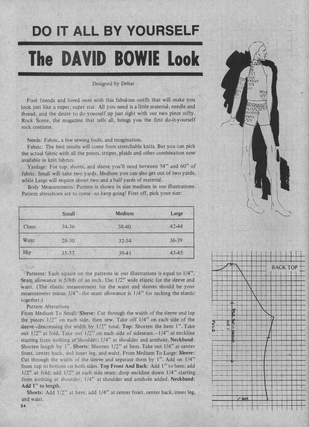 Pagina 1 van instructies voor 'the David Bowie Look'.