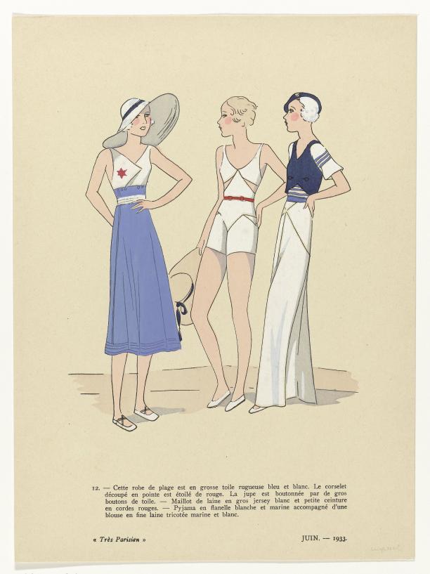 Prent uit het modetijdschrift Très Parisien, Juin 1933, No. 12.