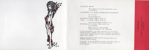 Uitnodiging voor een show van Cargelli in 1968, Museum Rotterdam.